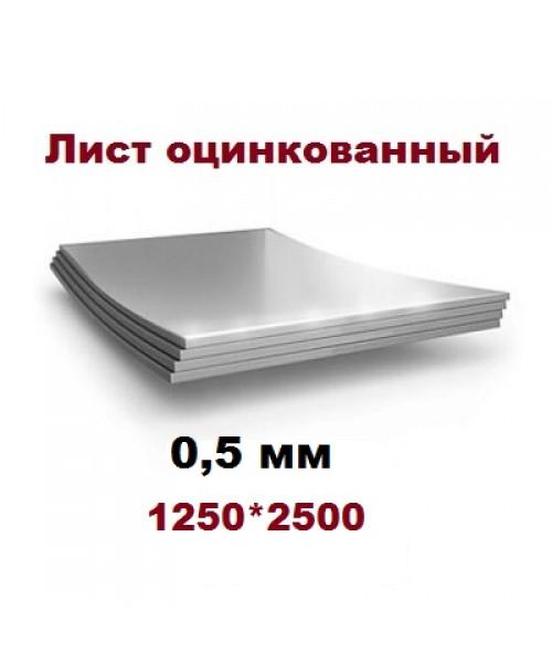 Лист оцинкованный 0,5*1250*2500